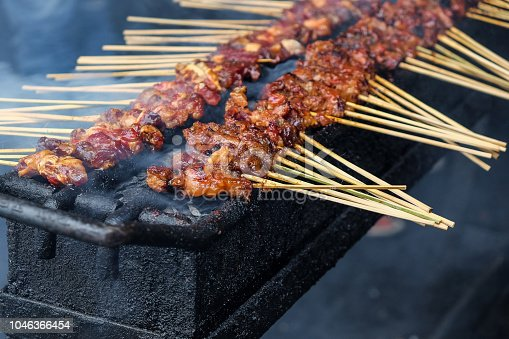 Chicken satay skewer on bbq coal grill