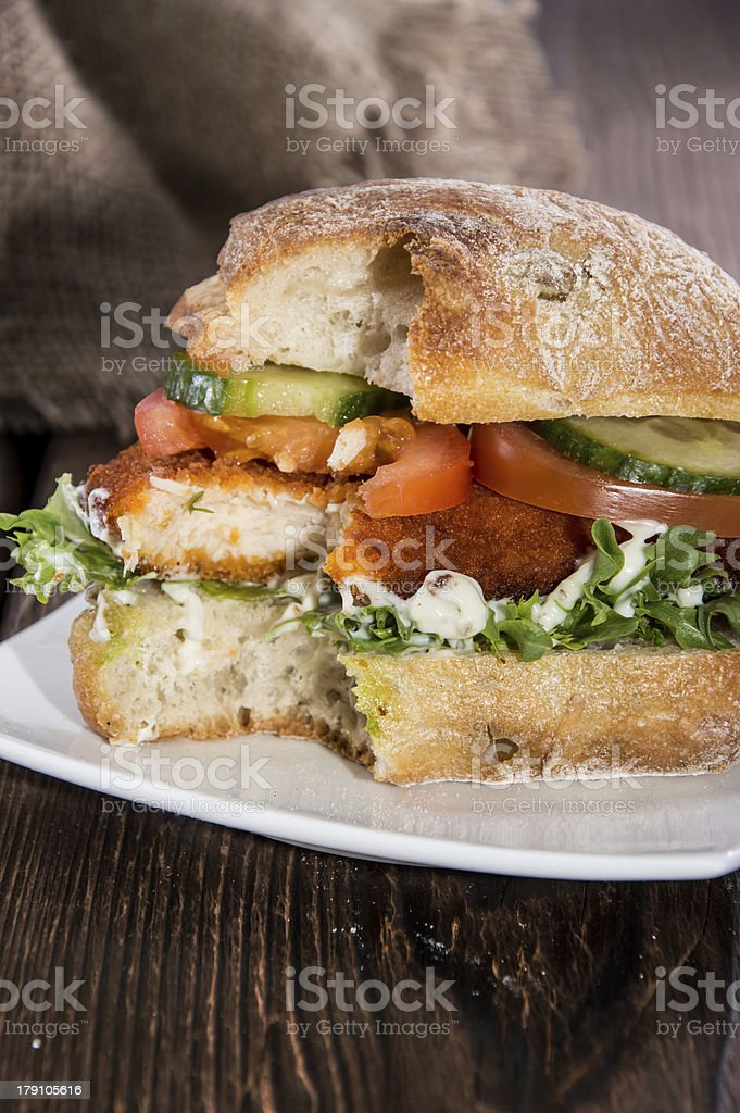 Chicken Schnitzel On A Roll Stock Photo Download Image Now Istock