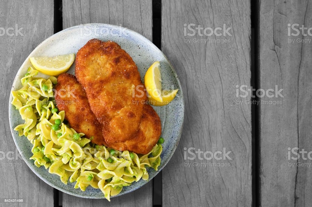 Chicken Schnitzel With Egg Noodles stock photo