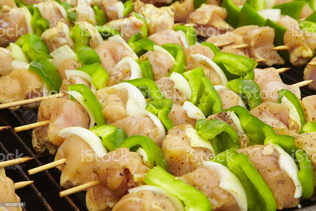Chicken Shish Kabob on Grill, Food, BBQ, Meal royalty-free stock photo