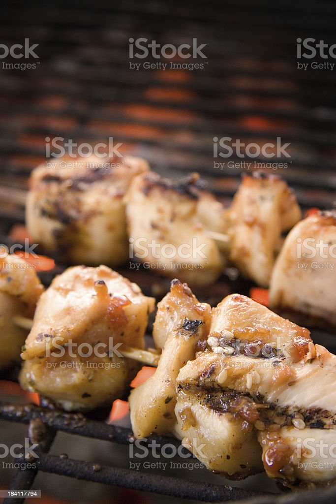 Chicken Shish Kebabs on BBQ royalty-free stock photo