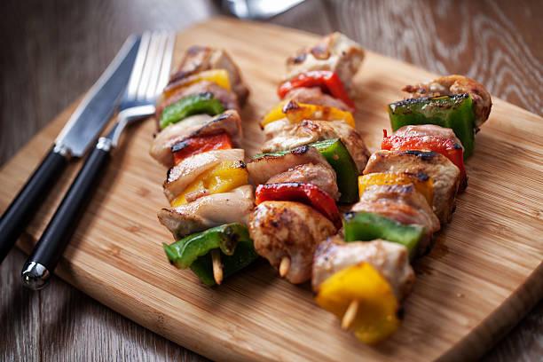 Chicken  Skewered stock photo