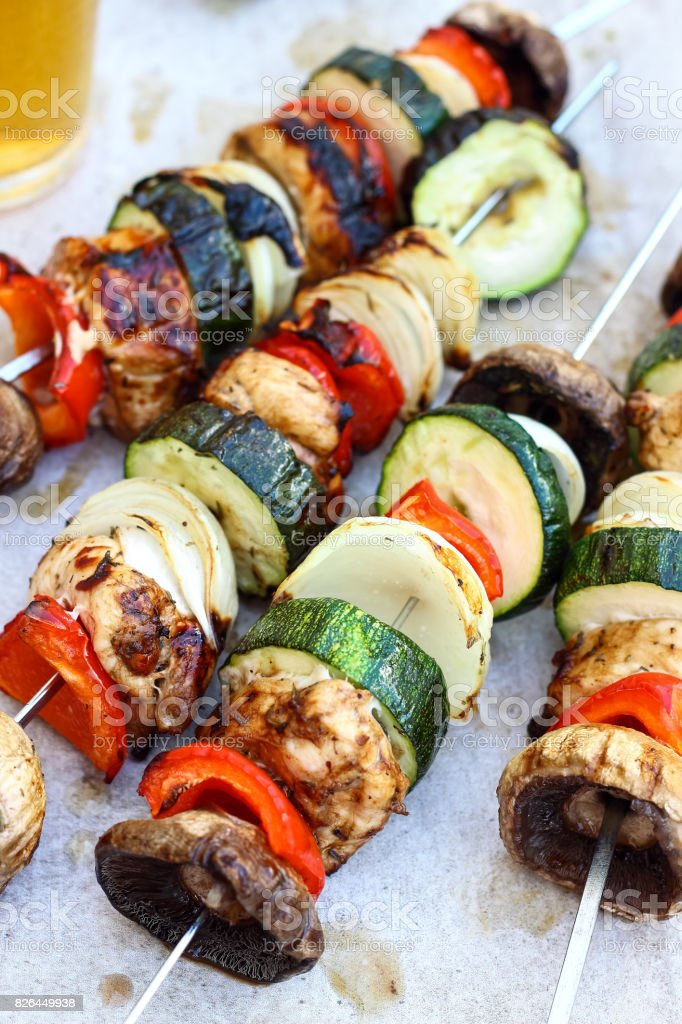 Chicken Skewers with Vegetables stock photo