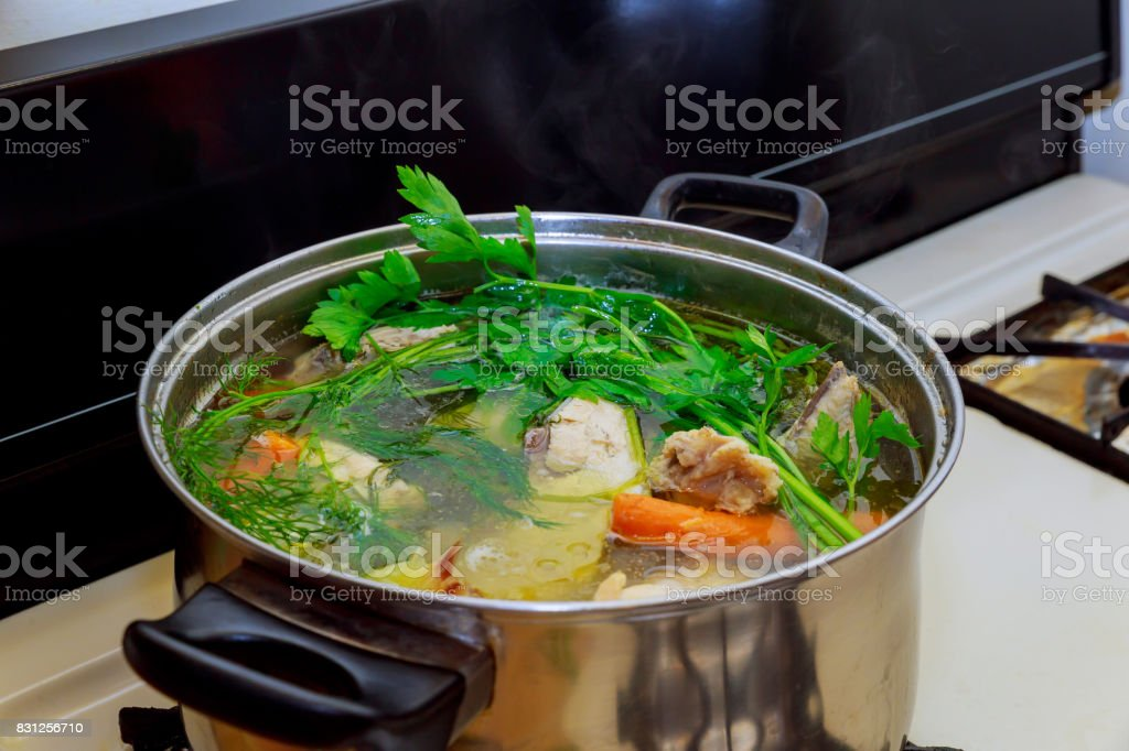 Chicken soup in a bowl stock photo