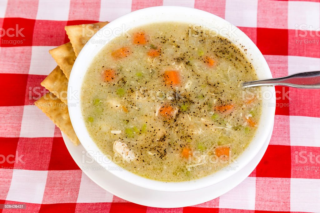 Chicken Soup with Crackers stock photo