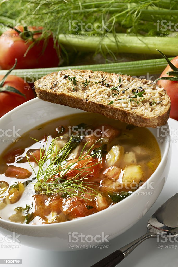 Chicken Soup with fennel and tomatoes stock photo