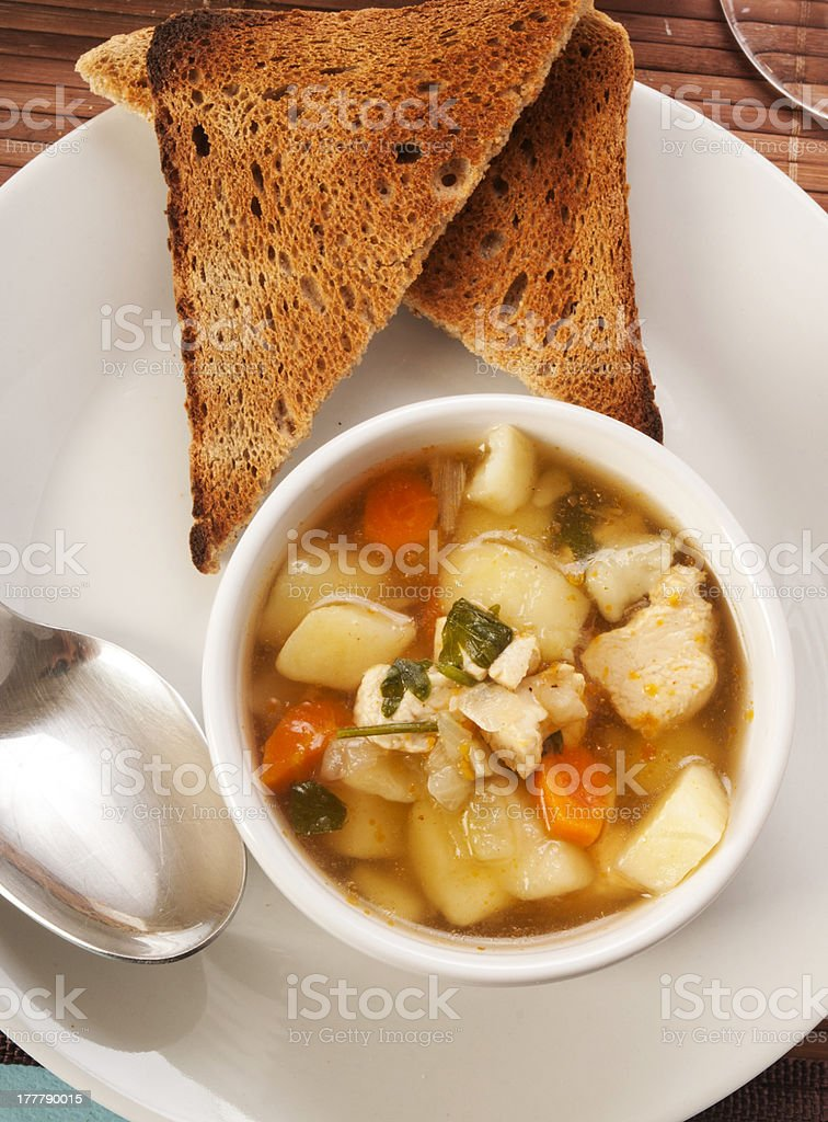 chicken soup with vegetables royalty-free stock photo