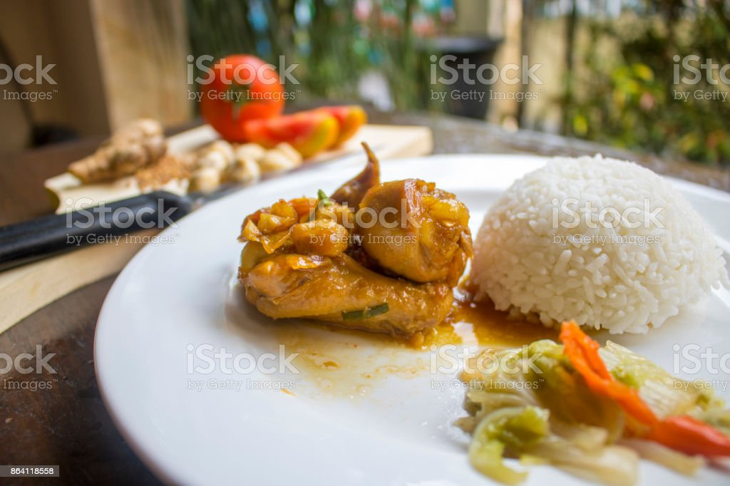 Chicken Soy Sauce with RIce, Chicken Food, Indonesian Food | Asian Food royalty-free stock photo