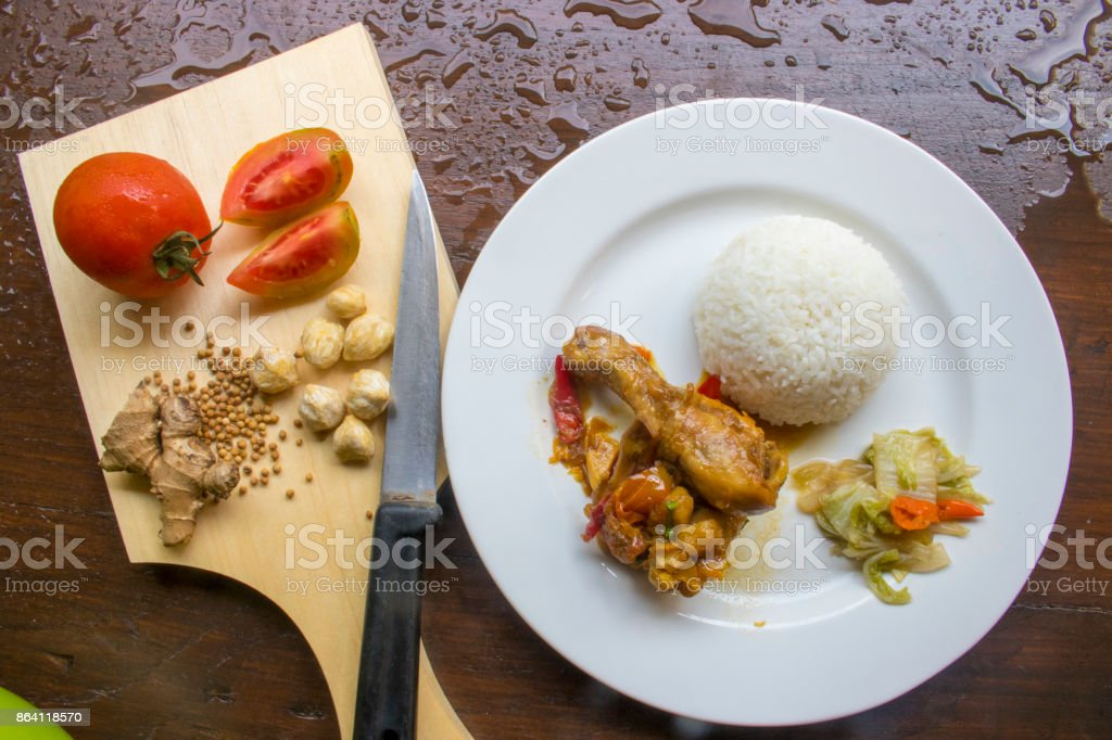 Chicken Soy Sauce with RIce, Chicken Food, Indonesian Food   Asian Food royalty-free stock photo