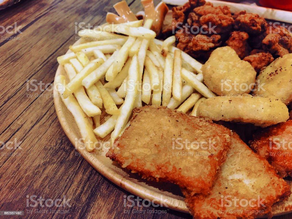 Chicken steak on white plate stock photo