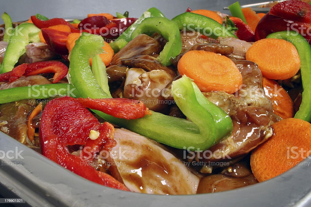 Chicken stir fry mixture royalty-free stock photo