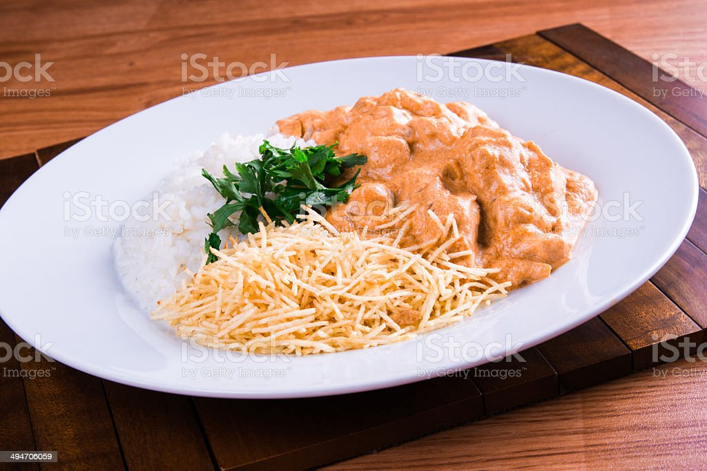 Chicken Stragonoff stock photo