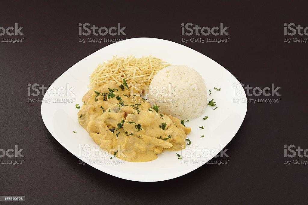 Chicken stroganoff dish stock photo