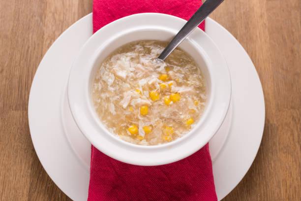 chicken sweetcorn soup stock photo