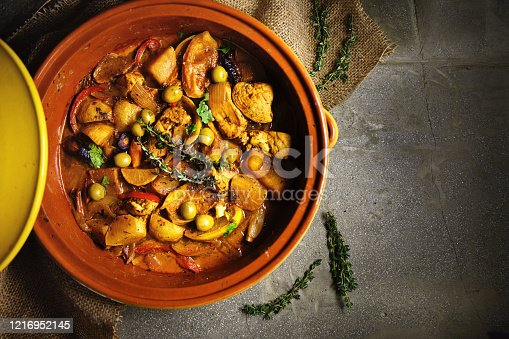 Chicken tagine with green olives and candied lemon, Ramadan food: Tajine djaj bizay toun wal hamid