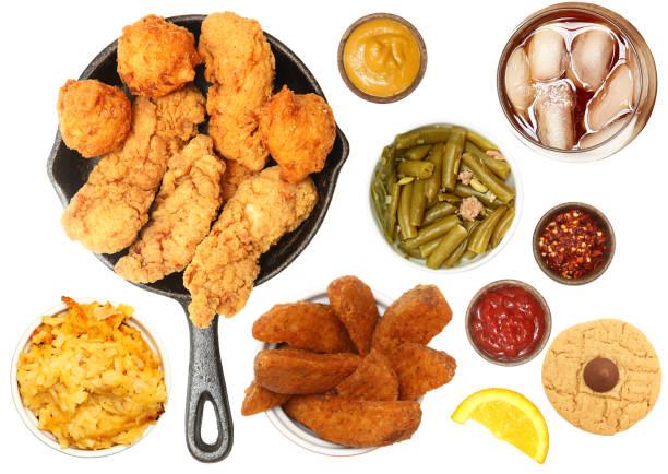 chicken tenders, iced tea and side items - peanutbutter bildbanksfoton och bilder