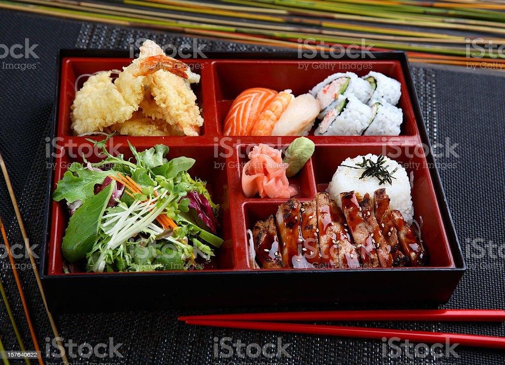 Chicken Teriyaki Combination Bento stock photo