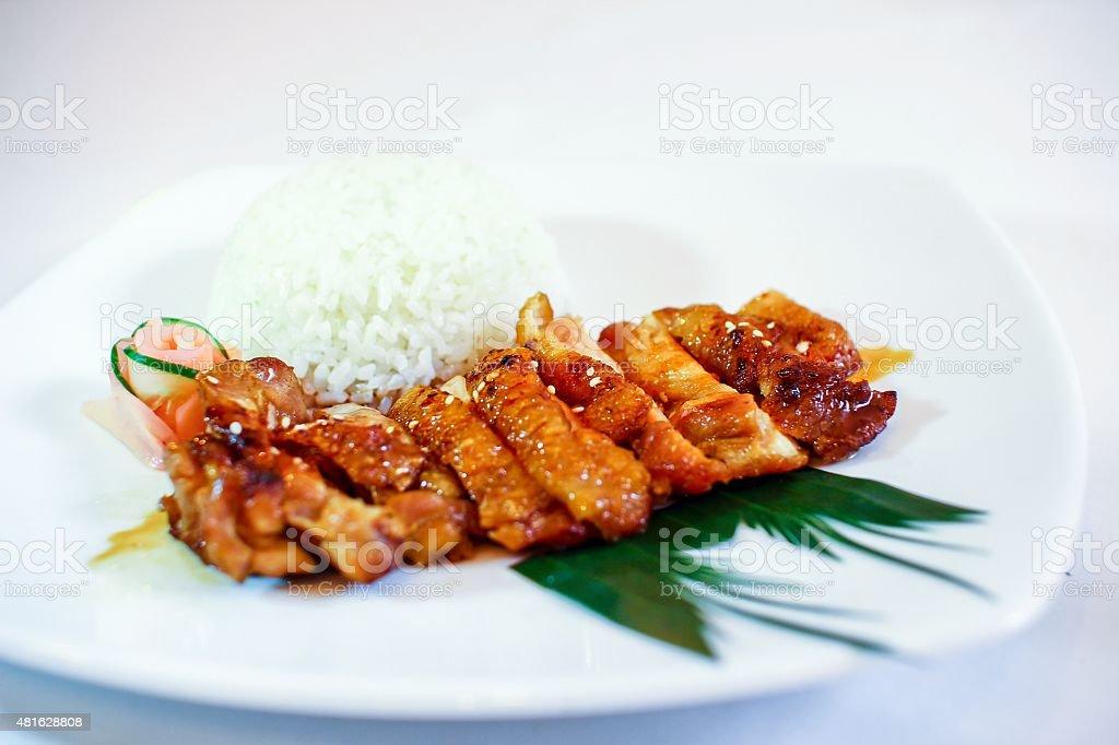 Chicken teriyaki on rice. stock photo