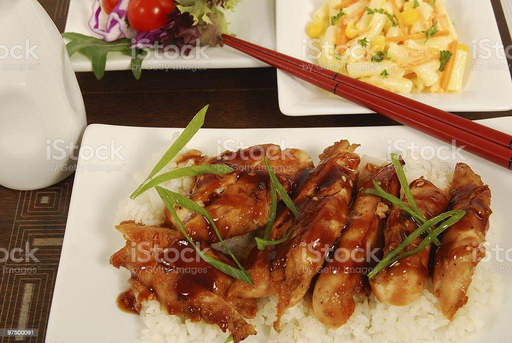 Chicken teriyaki on rice stock photo