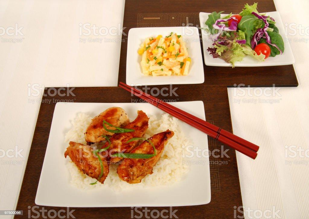 Chicken teriyaki on rice royalty-free stock photo