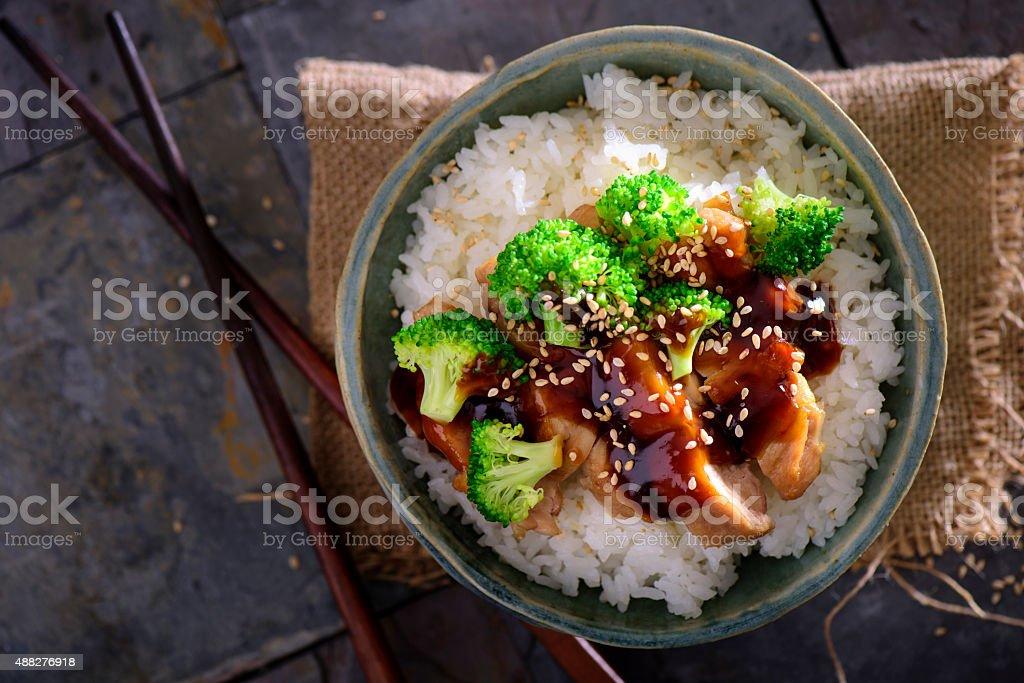 Chicken Teriyaki over white rice stock photo