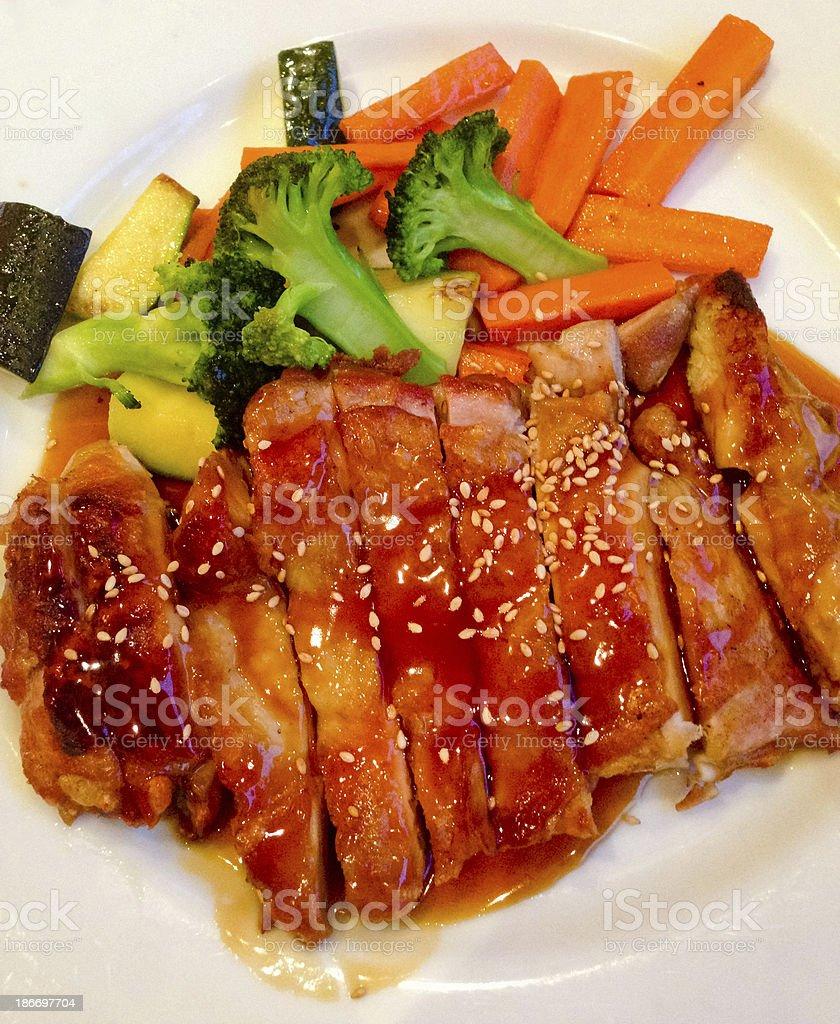 Chicken Teriyaki with veggies stock photo