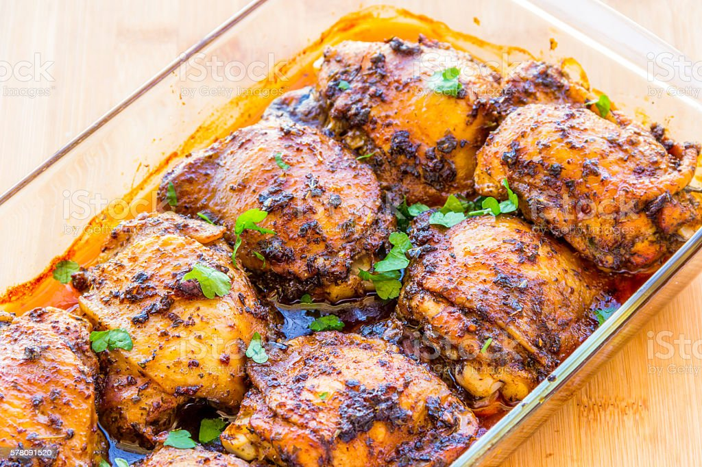 Chicken Thigh Roasted stock photo
