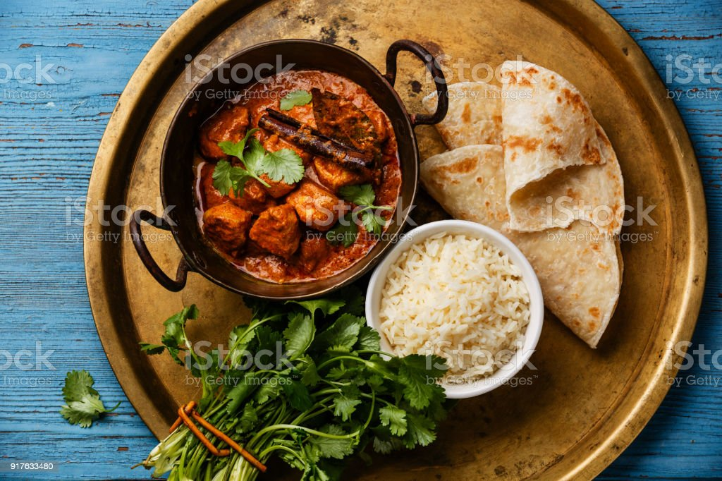 Chicken tikka masala spicy curry meat food stock photo
