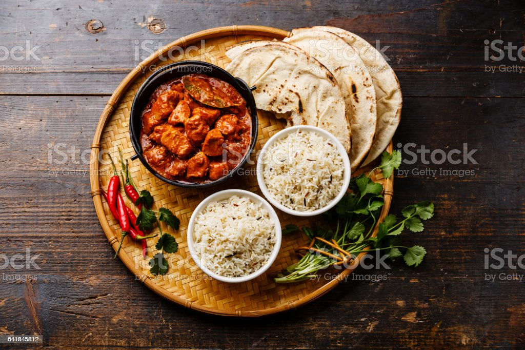 Chicken tikka masala spicy curry meat stock photo
