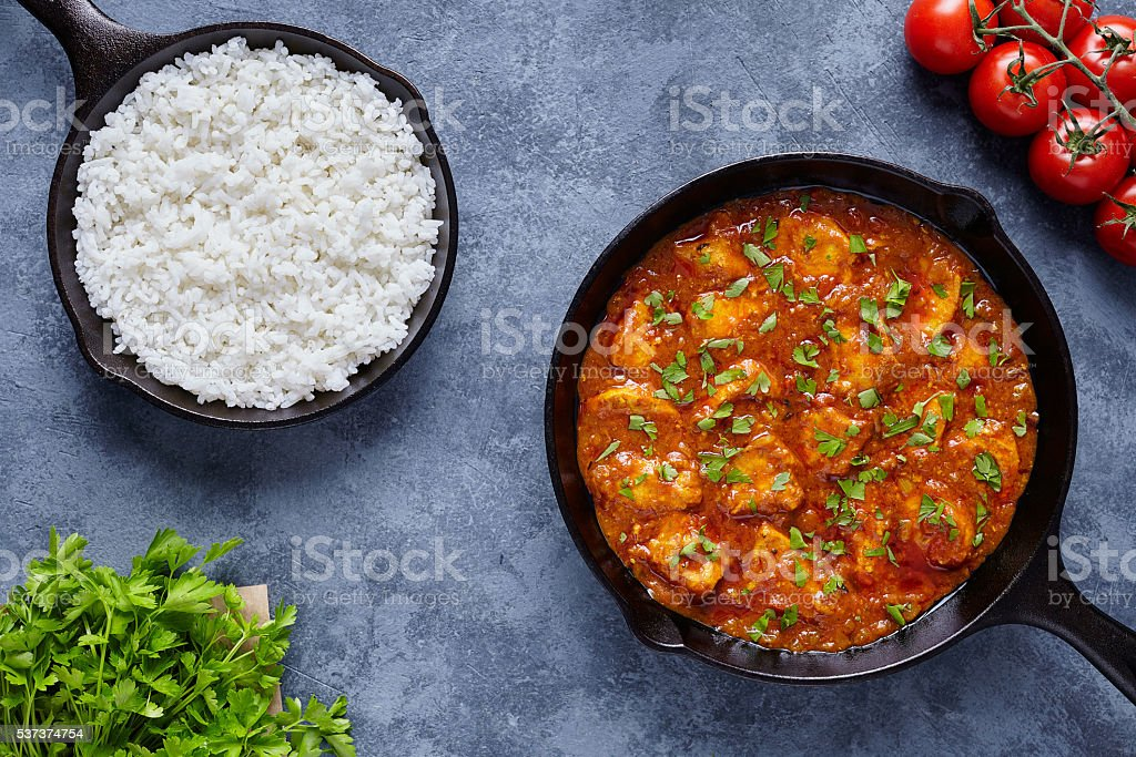 Chicken tikka masala traditional Asian spicy butter meat food stock photo