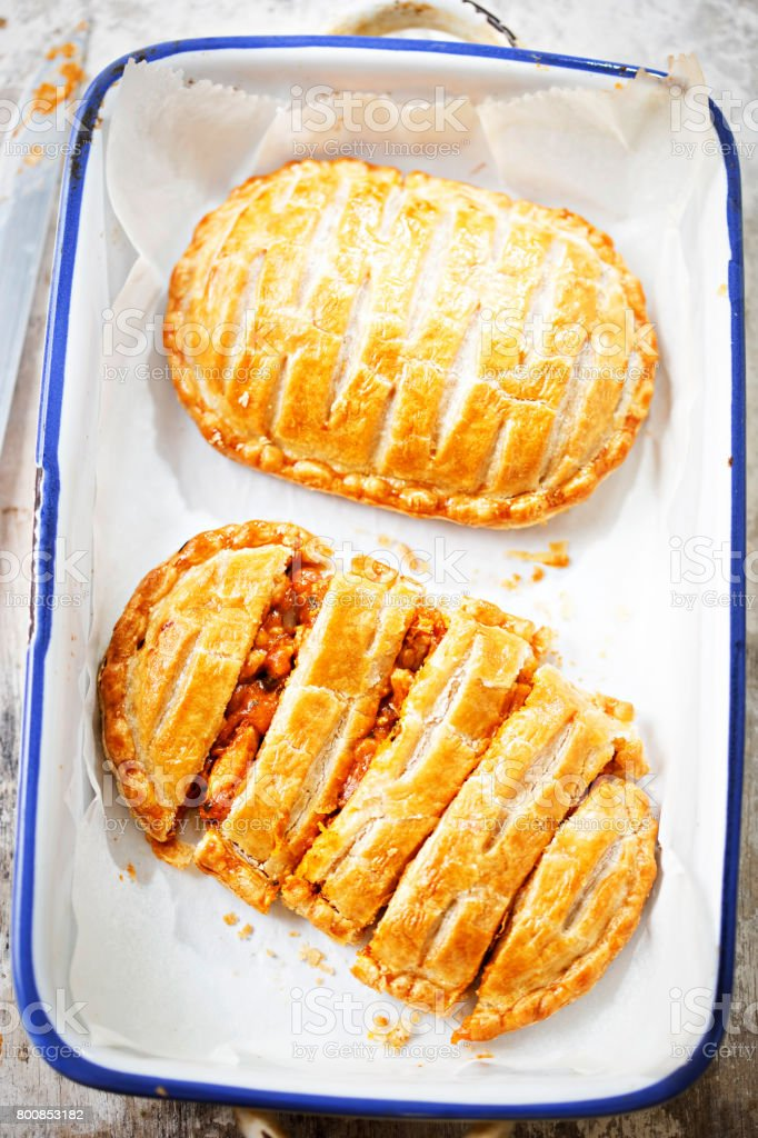 Chicken tikka puff pastry stock photo