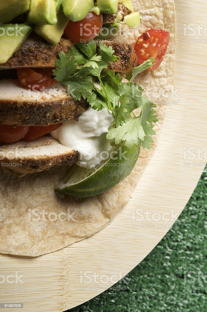 Chicken Tortilla on Bamboo Plate royalty-free stock photo
