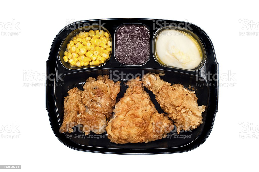 Chicken TV dinner in plastic tray stock photo