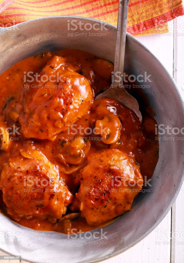 Chicken Valencia - chicken thighs stewed photo libre de droits