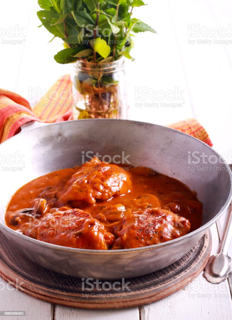 Chicken Valencia - chicken thighs stewed with wine royalty-free stock photo