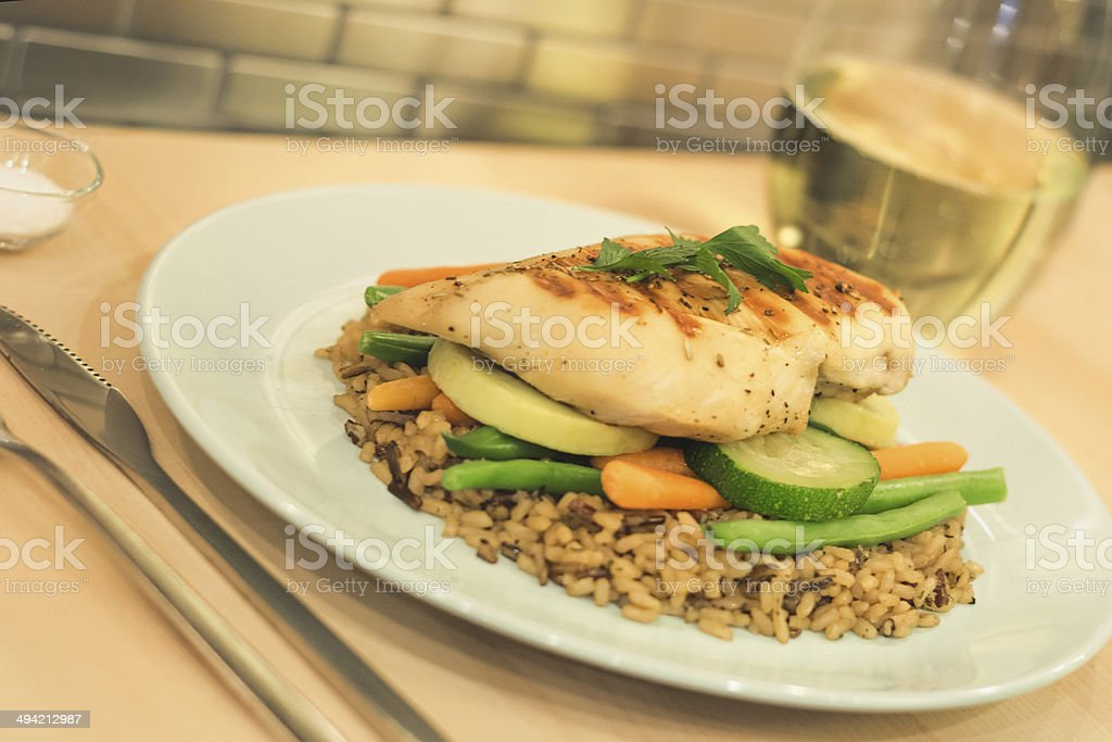Chicken, vegetables and rice meal royalty-free stock photo