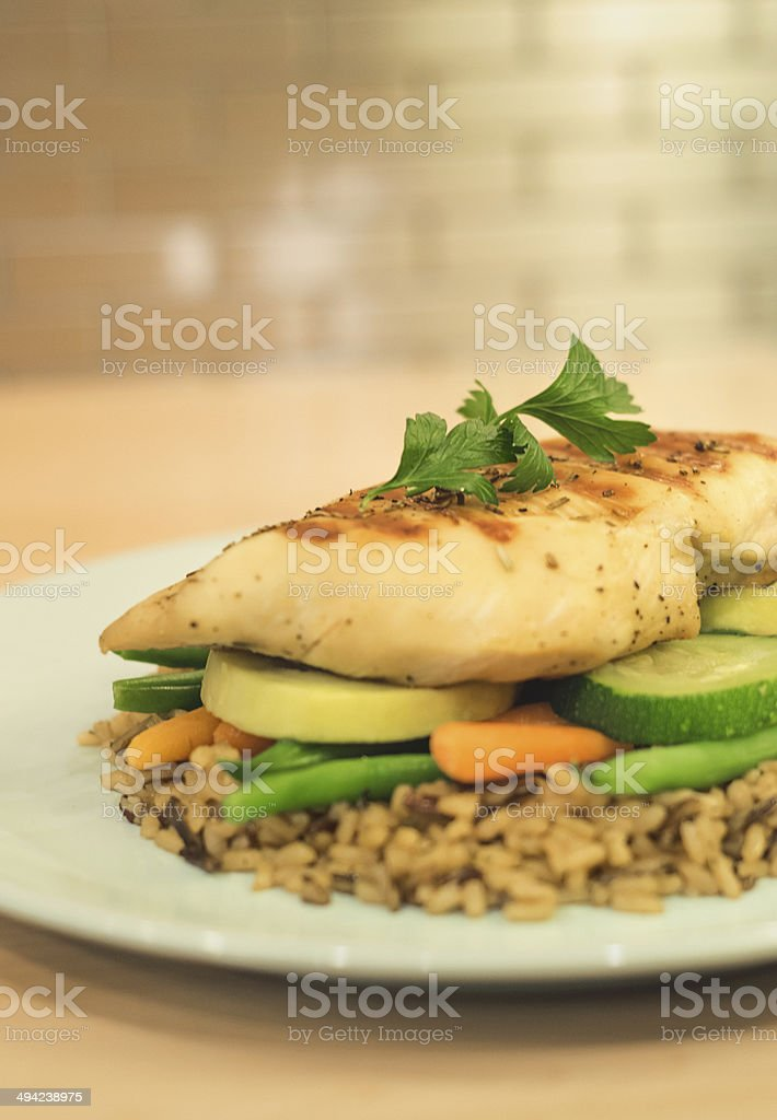 Chicken, vegetables and rice meal stock photo