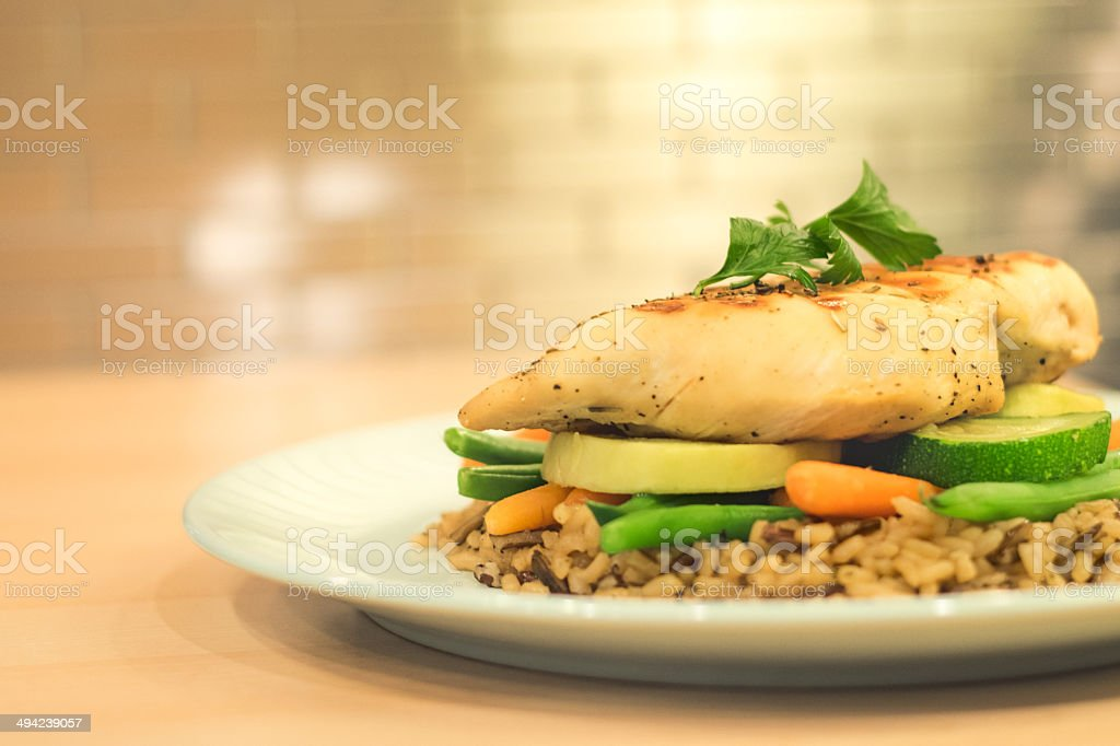 Chicken, vegetables and rice meal - Royalty-free Carrot Stock Photo