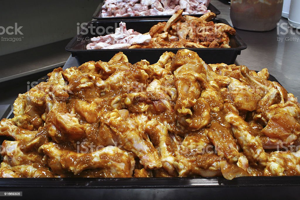 Chicken wing preperation 1 stock photo
