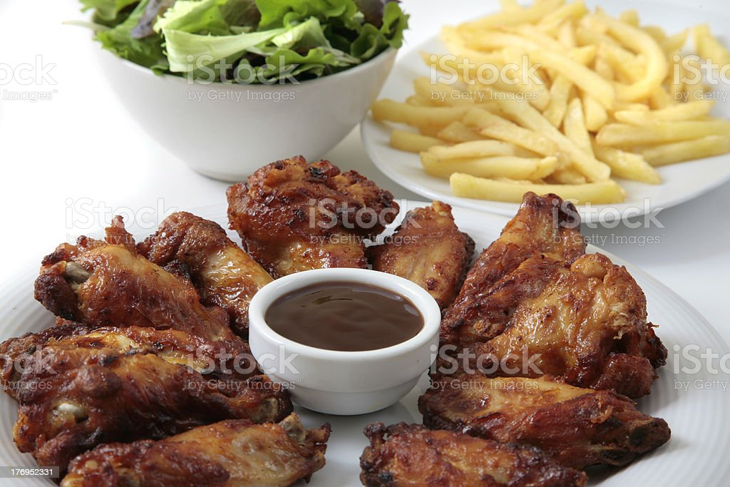 chicken wings dinner royalty-free stock photo