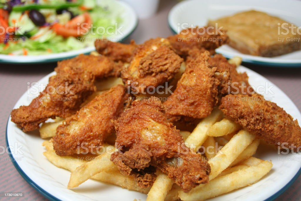 Chicken Wings & Fries royalty-free stock photo