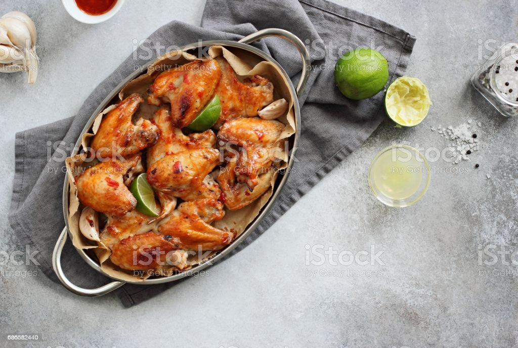 Chicken wings in spicy lime chili marinade. royalty-free stock photo