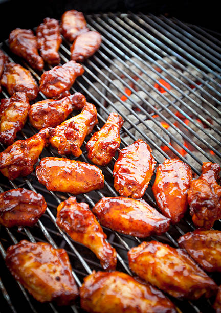 BBQ chicken wings stock photo