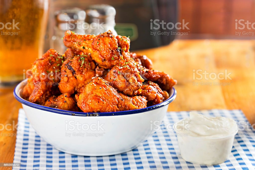 Chicken wings with blue cheese dip stock photo