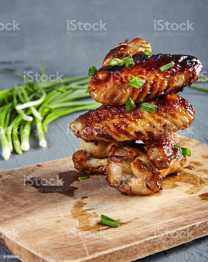 Chicken wings with honey and mustard stock photo