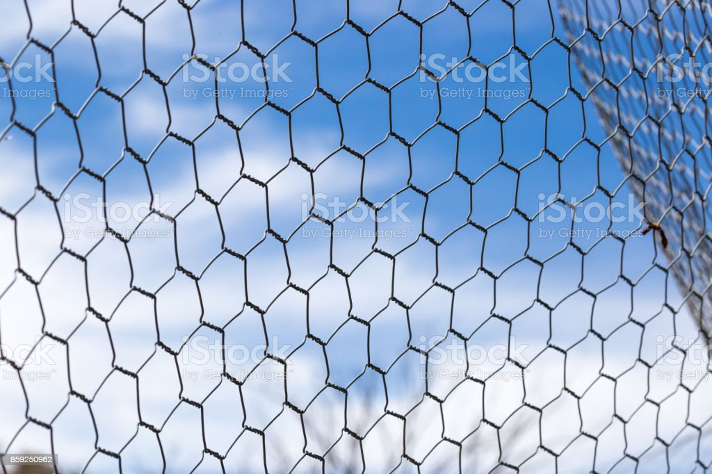 Chicken Wire Fence Makes A Pattern Against The Blue Sky Stock Photo ...