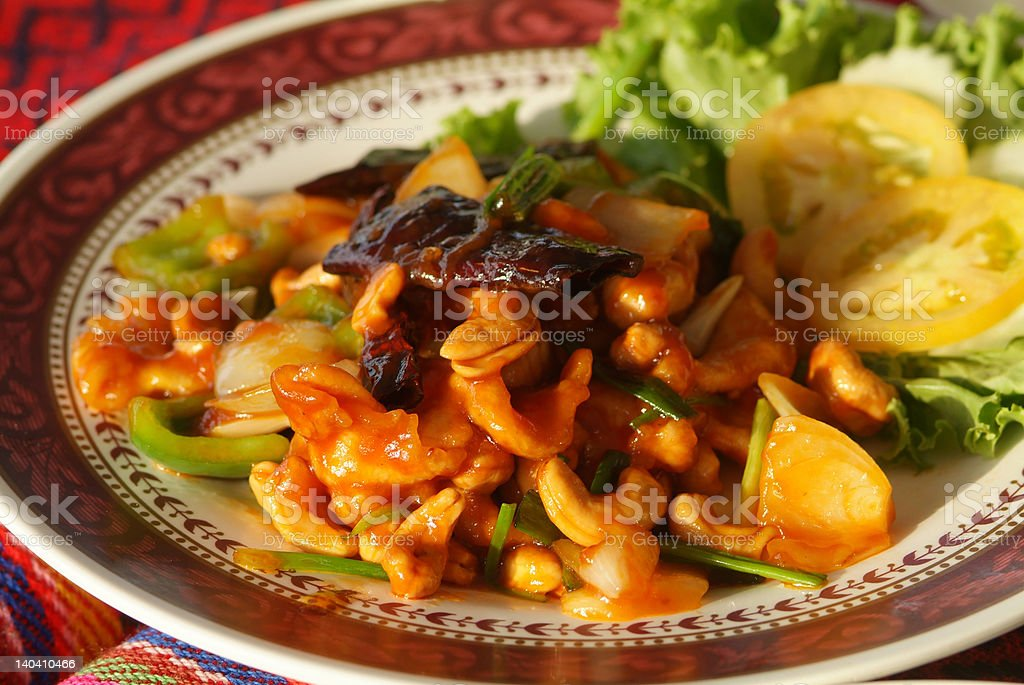 Chicken with cashew nuts royalty-free stock photo