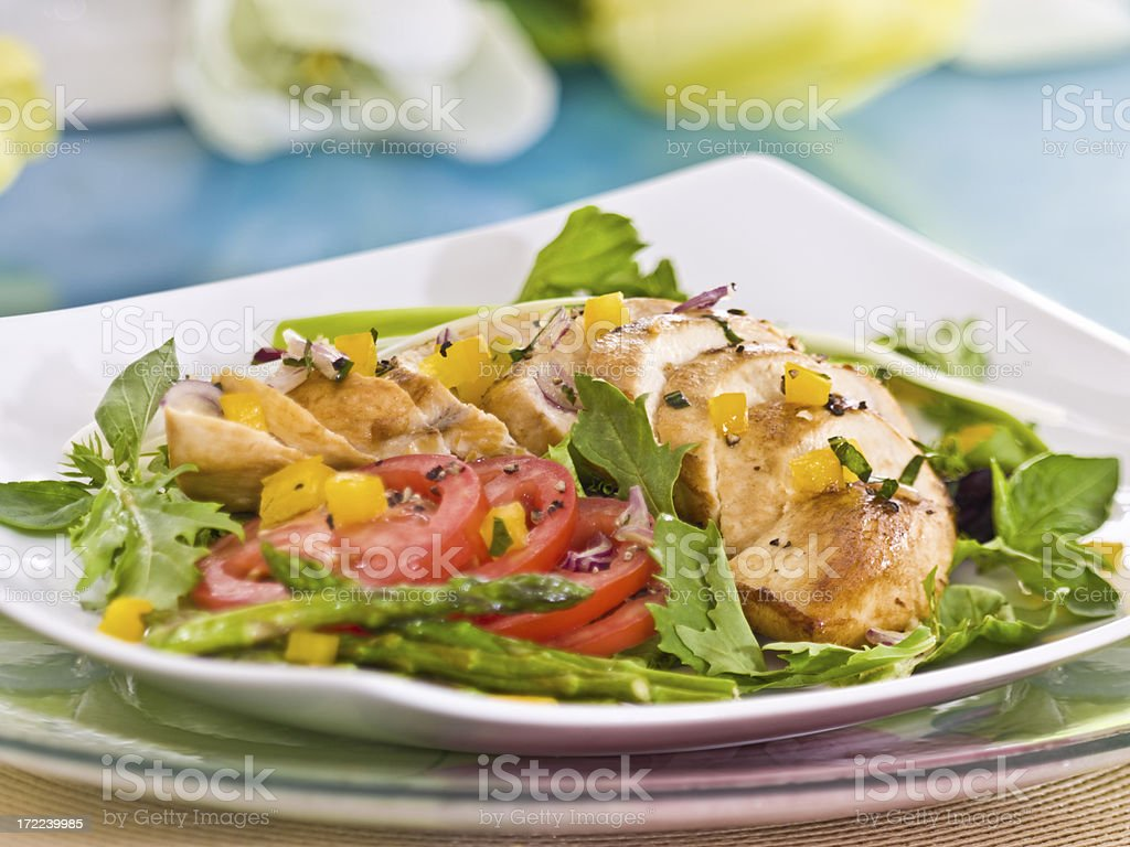 chicken (sliced) with greens royalty-free stock photo