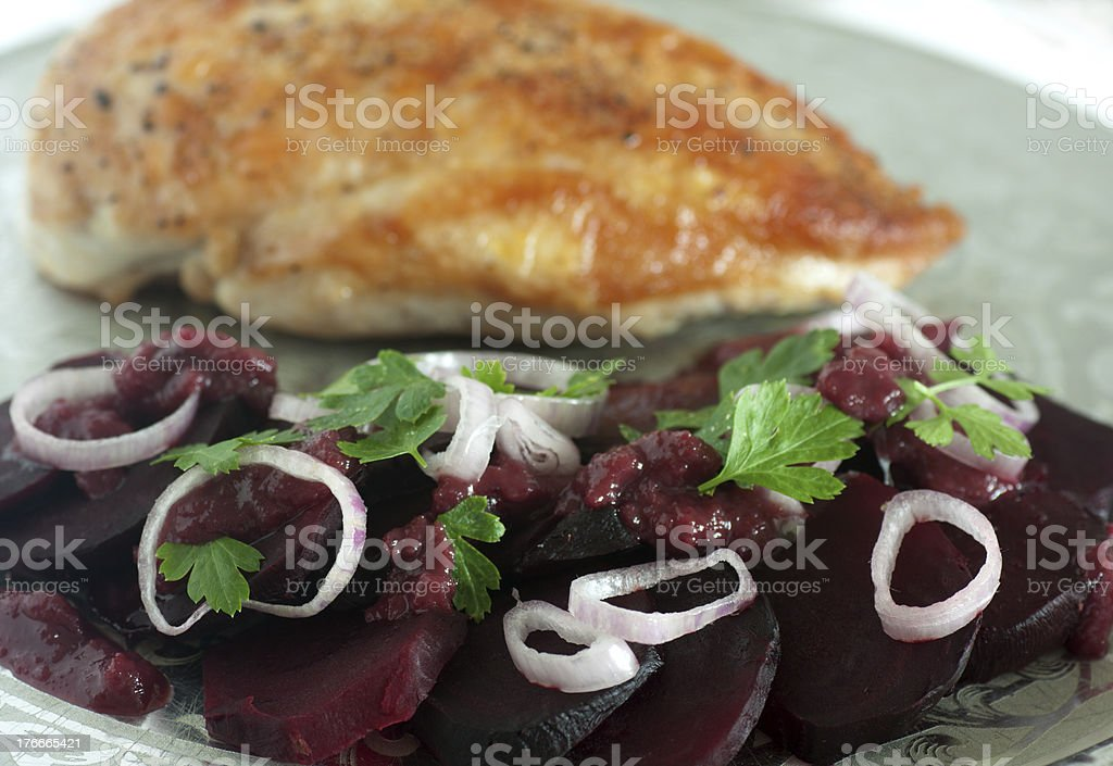 chicken with red beet royalty-free stock photo