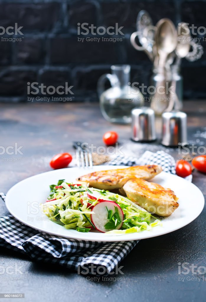 chicken with salad stock photo